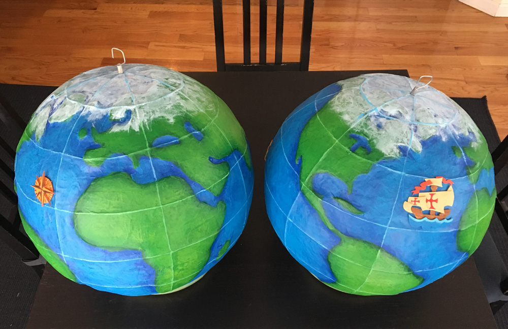 Paper mache globe - ship and compass