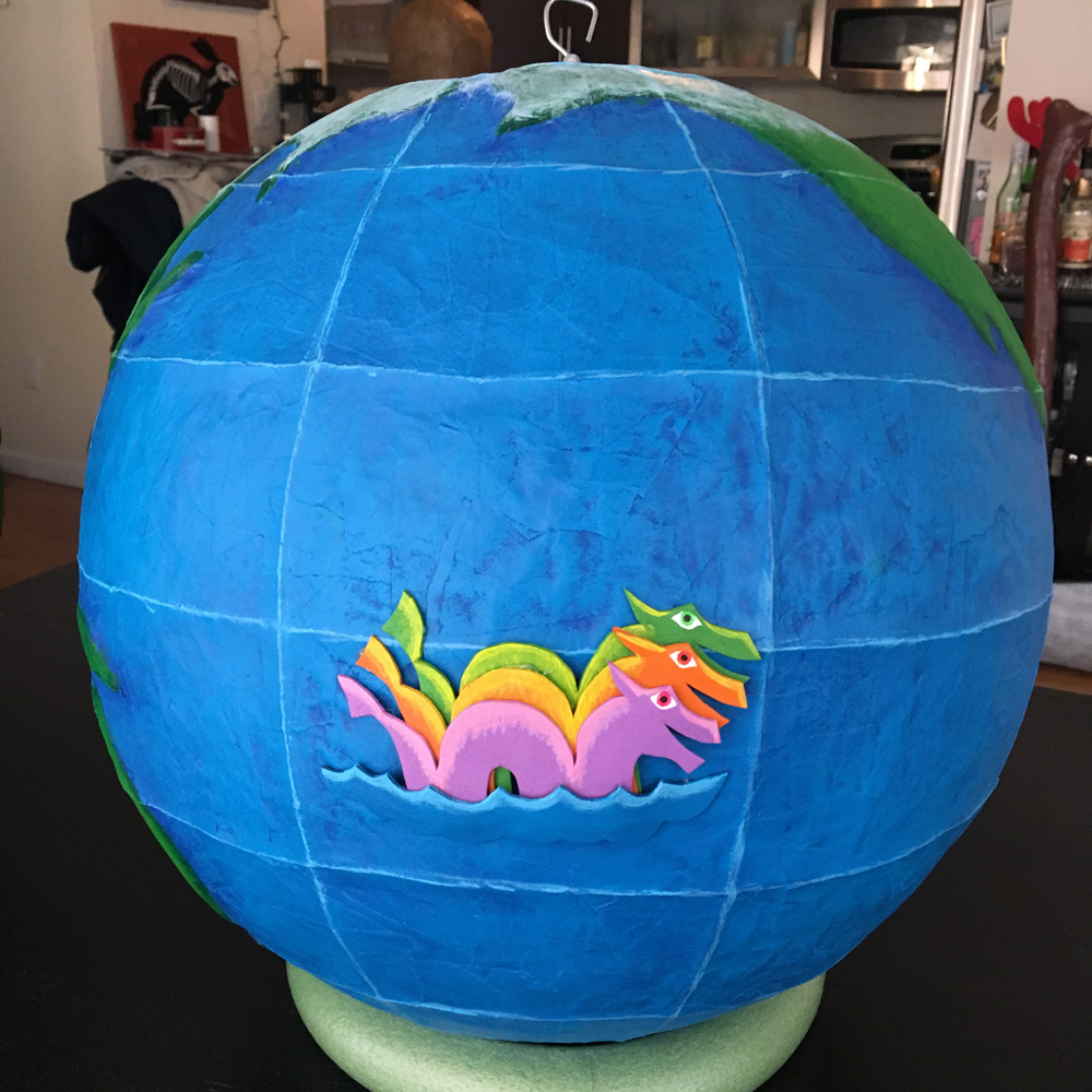 Paper mache globe - Isabella the three-headed serpent