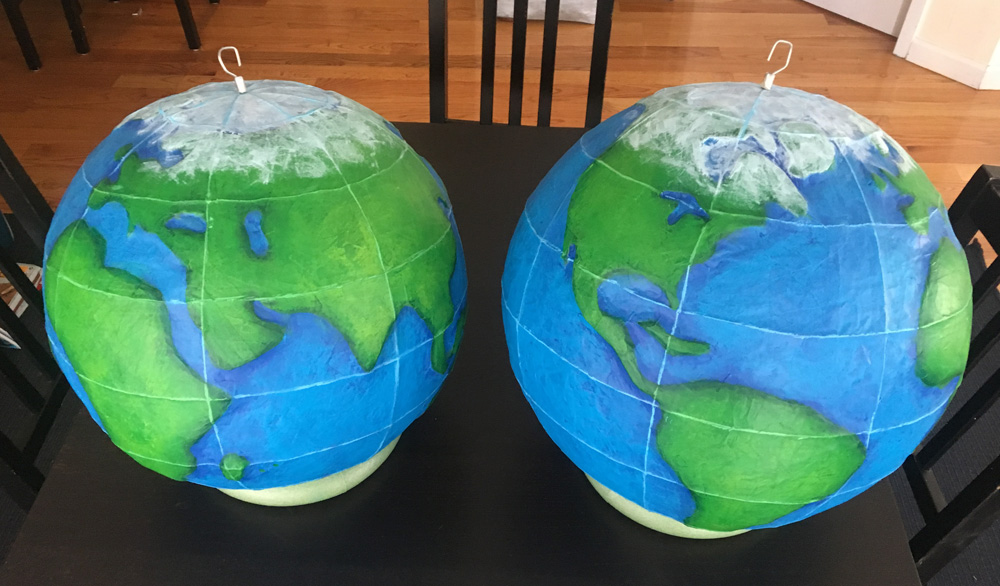 Paper mache globe - painting finished