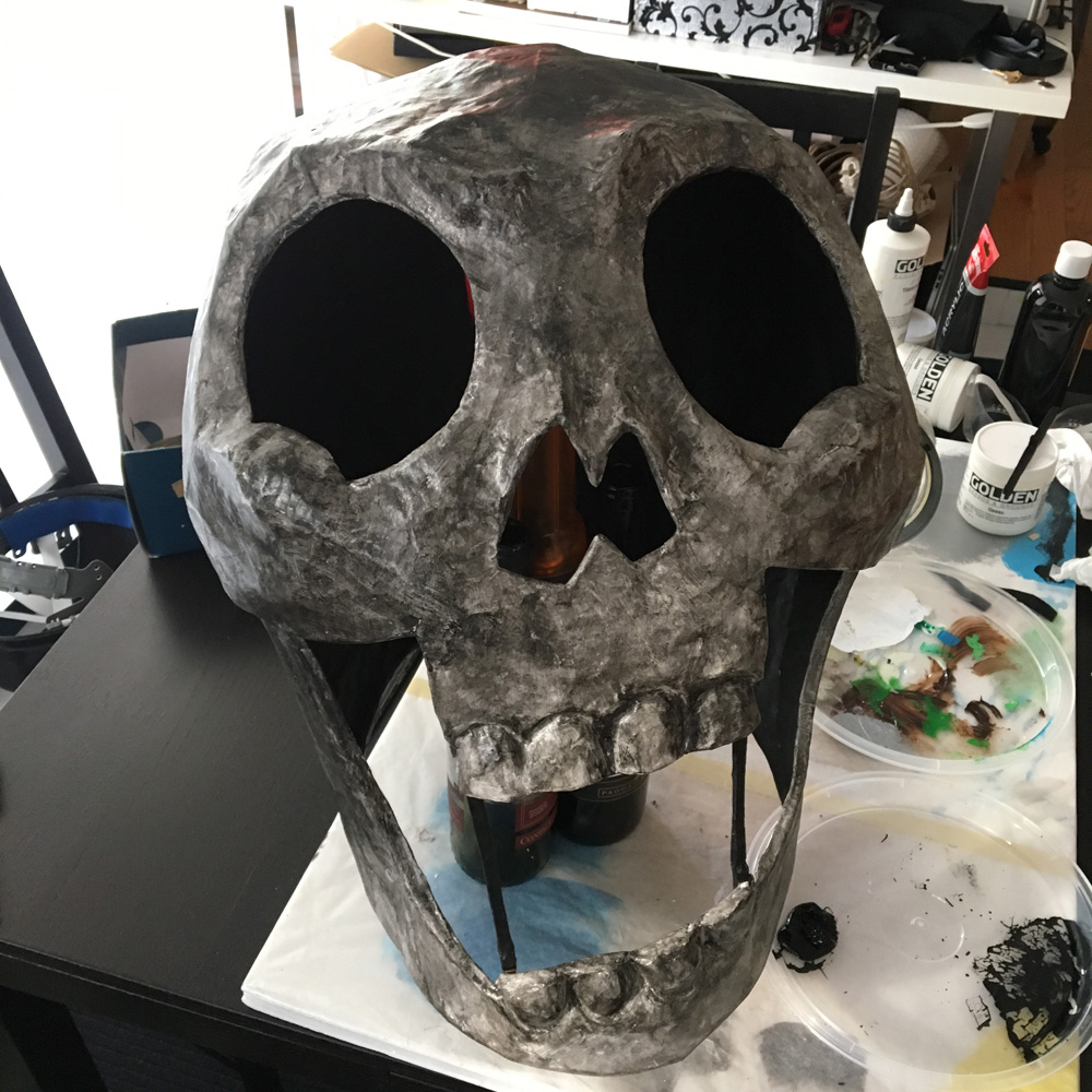 Axeman paper mache skull mask - black acrylic paint