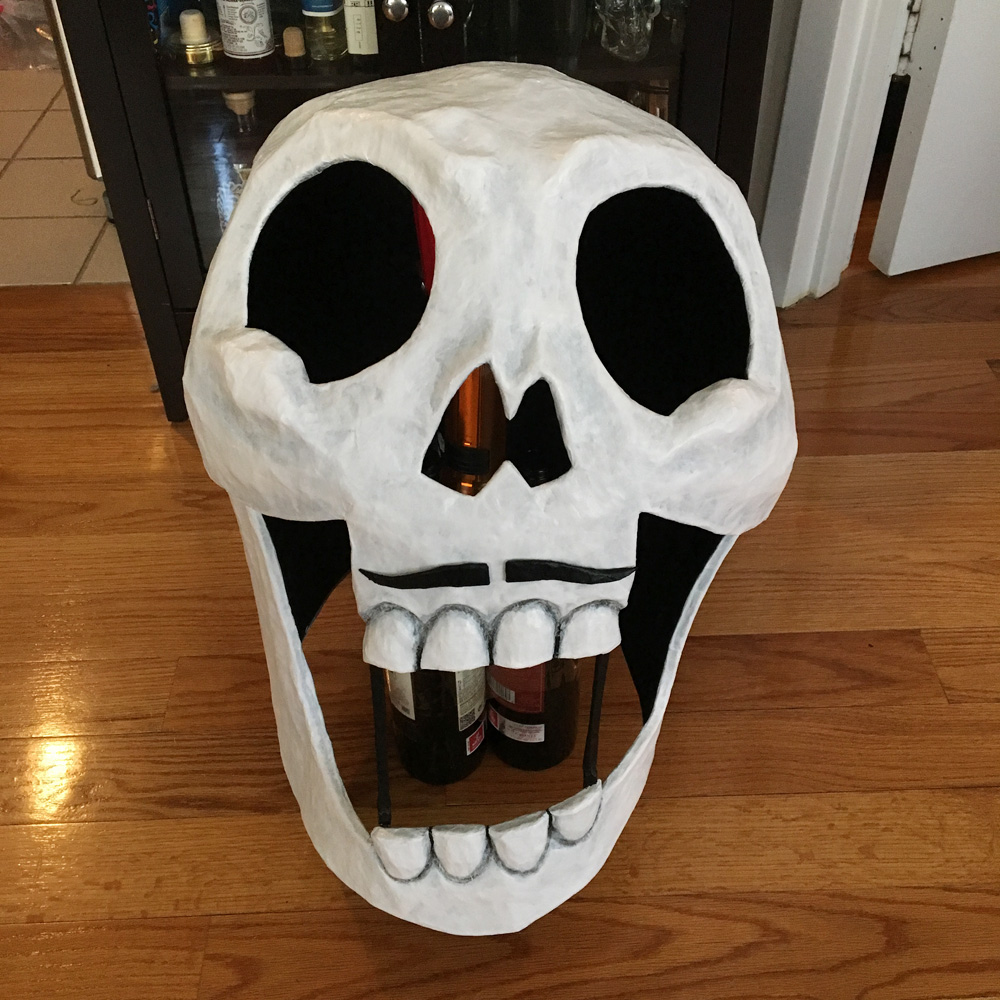 Axeman paper mache skull mask - paint job finished