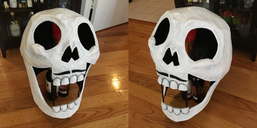 Axeman paper mache skull mask - with mustache added