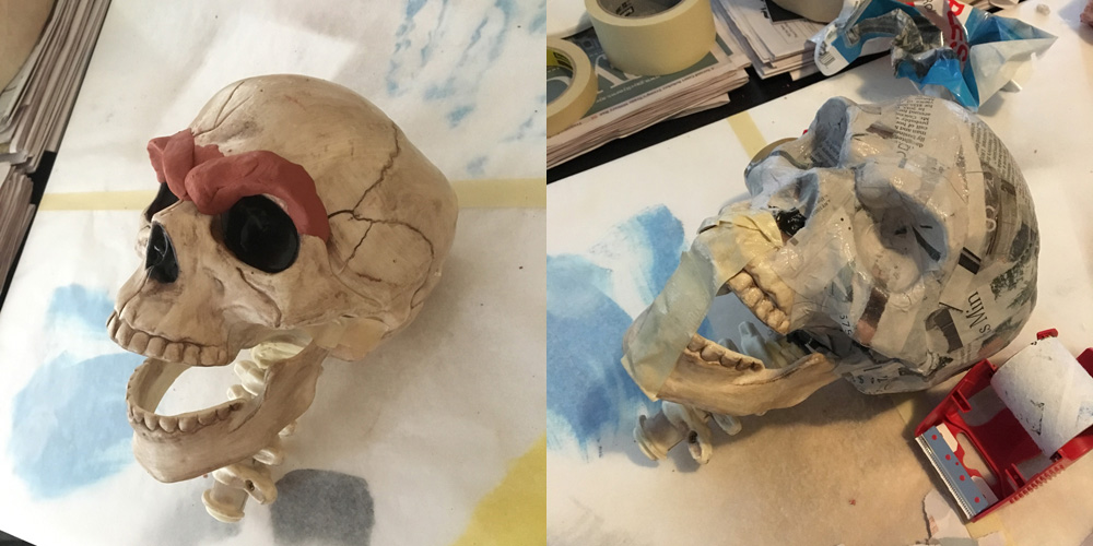 SLY skull sculpture - modifying a plastic skull