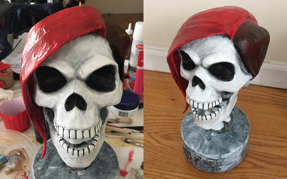 SLY skull sculpture - shading with black acrylic