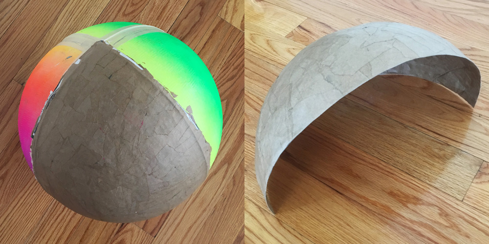 Foam gears - paper mache on the inflatable ball