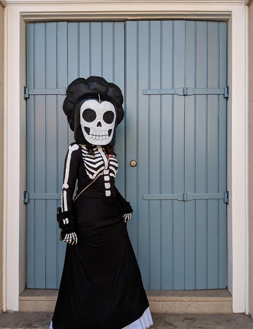 Baroness de Pontalba skeleton costume, Mardi Gras 2018
