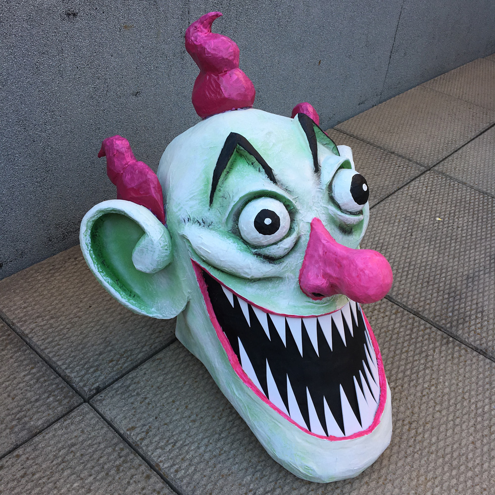 Giant evil clown Pez dispenser - finished head