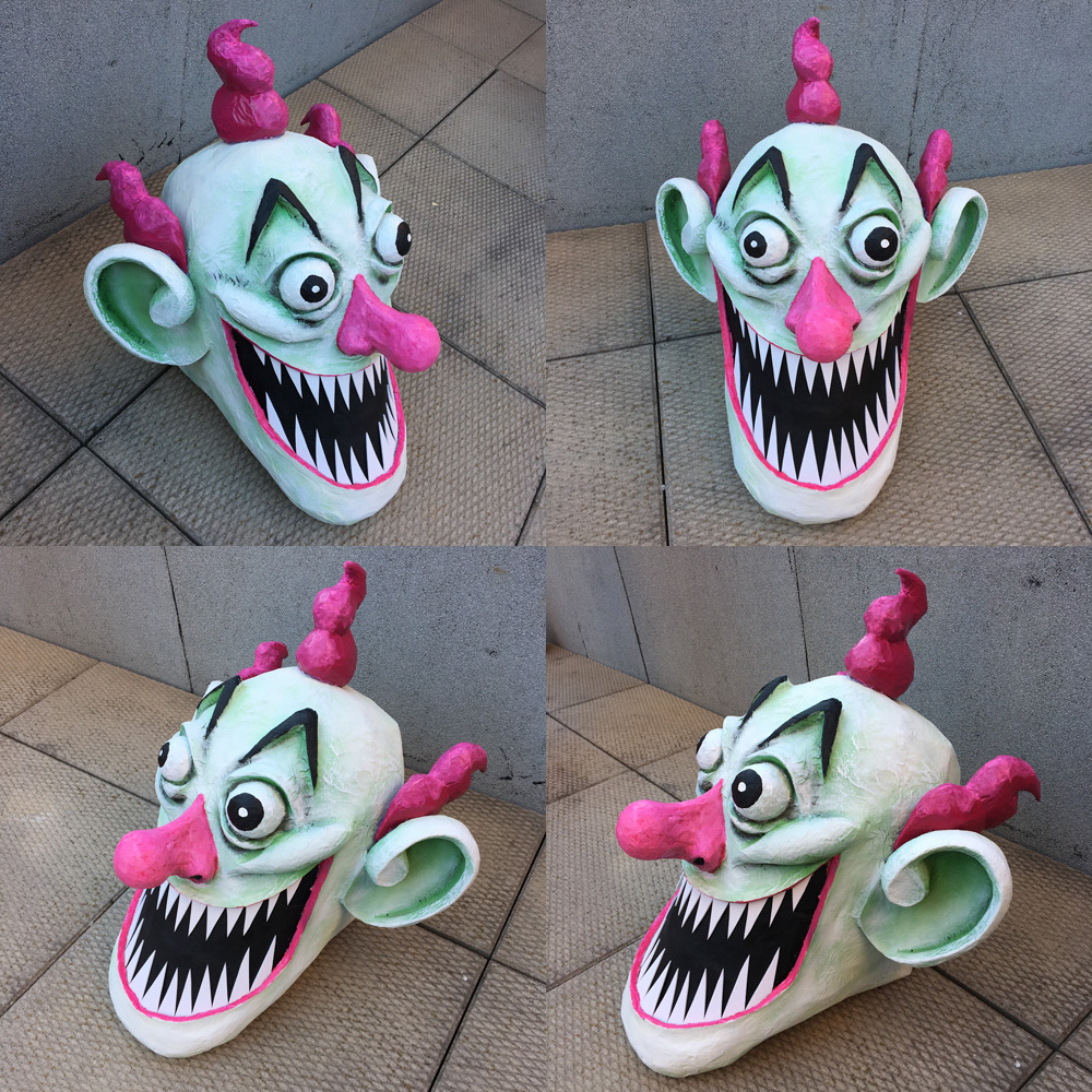 Giant evil clown Pez dispenser - various views of finished clown head