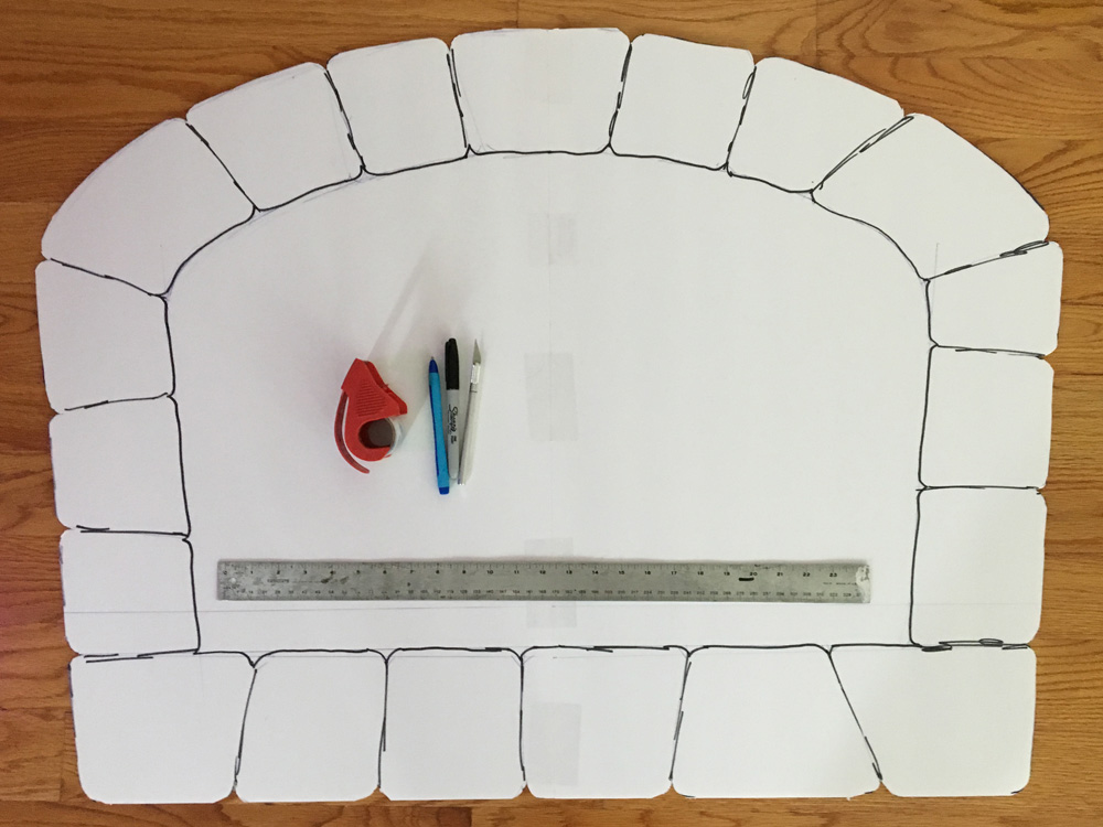 Paper maché oven prop - drawing the bricks