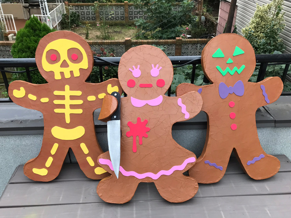 Paper mache gingerbread men - finished!