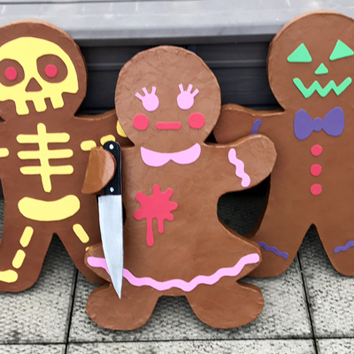 Paper mache gingerbread men decorations by Manning Krull
