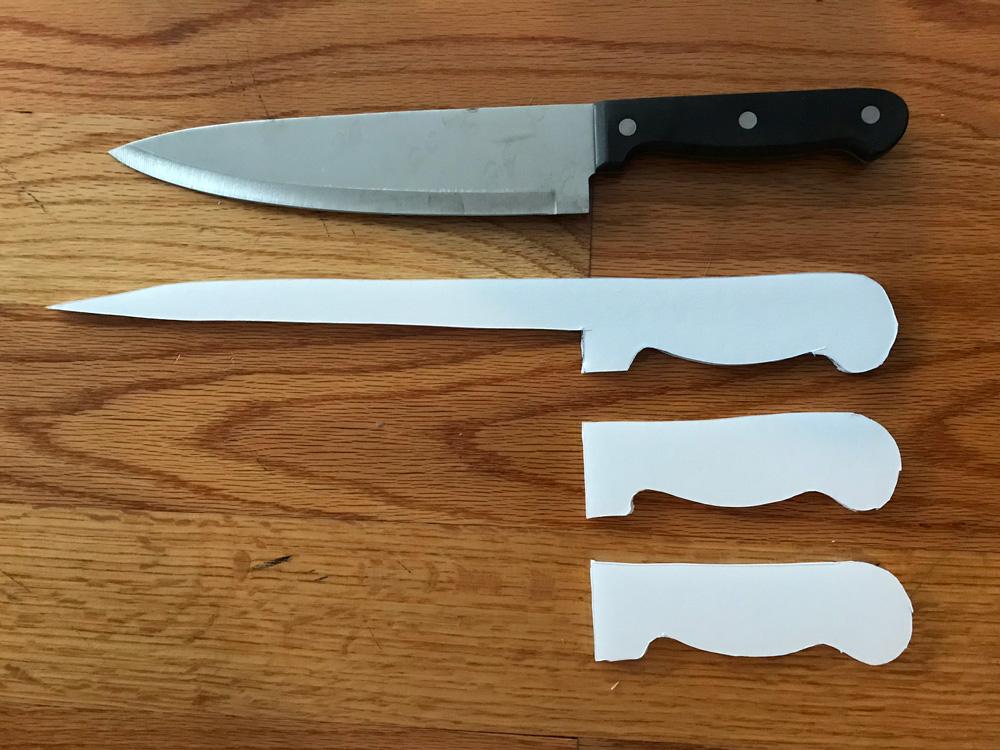 Paper maché kitchen knife - foam board shapes