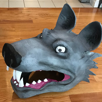 Paper mache wolf mask by Manning Krull