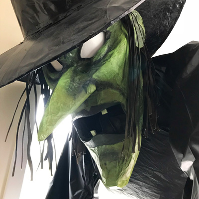 Paper mache giant witch statue by Manning Krull