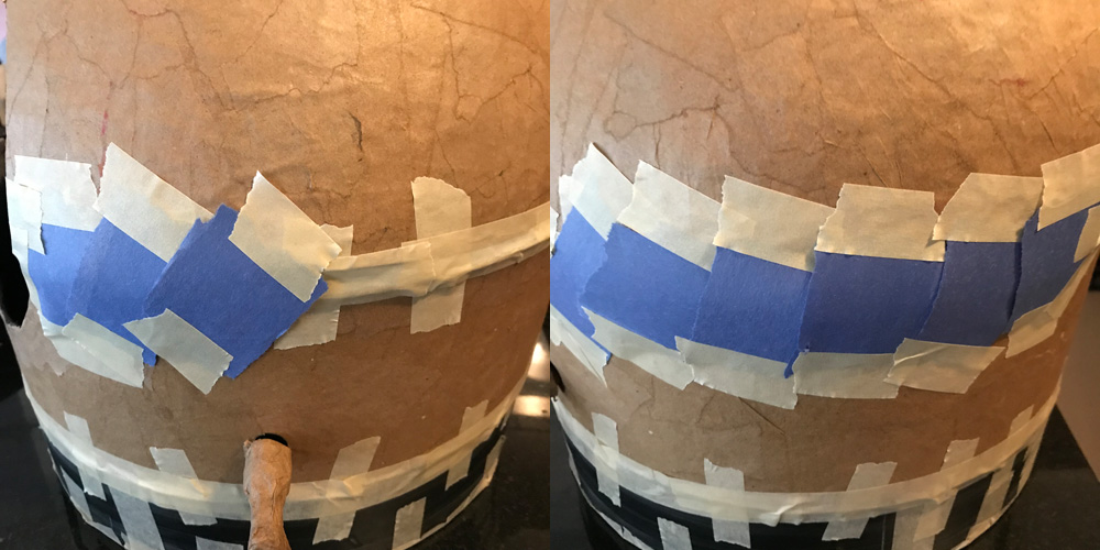 Concealing the seam with paper and tape