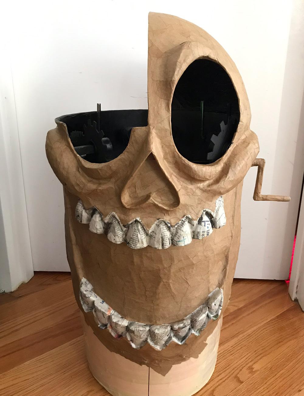 Clockwork skull mask - paper mache