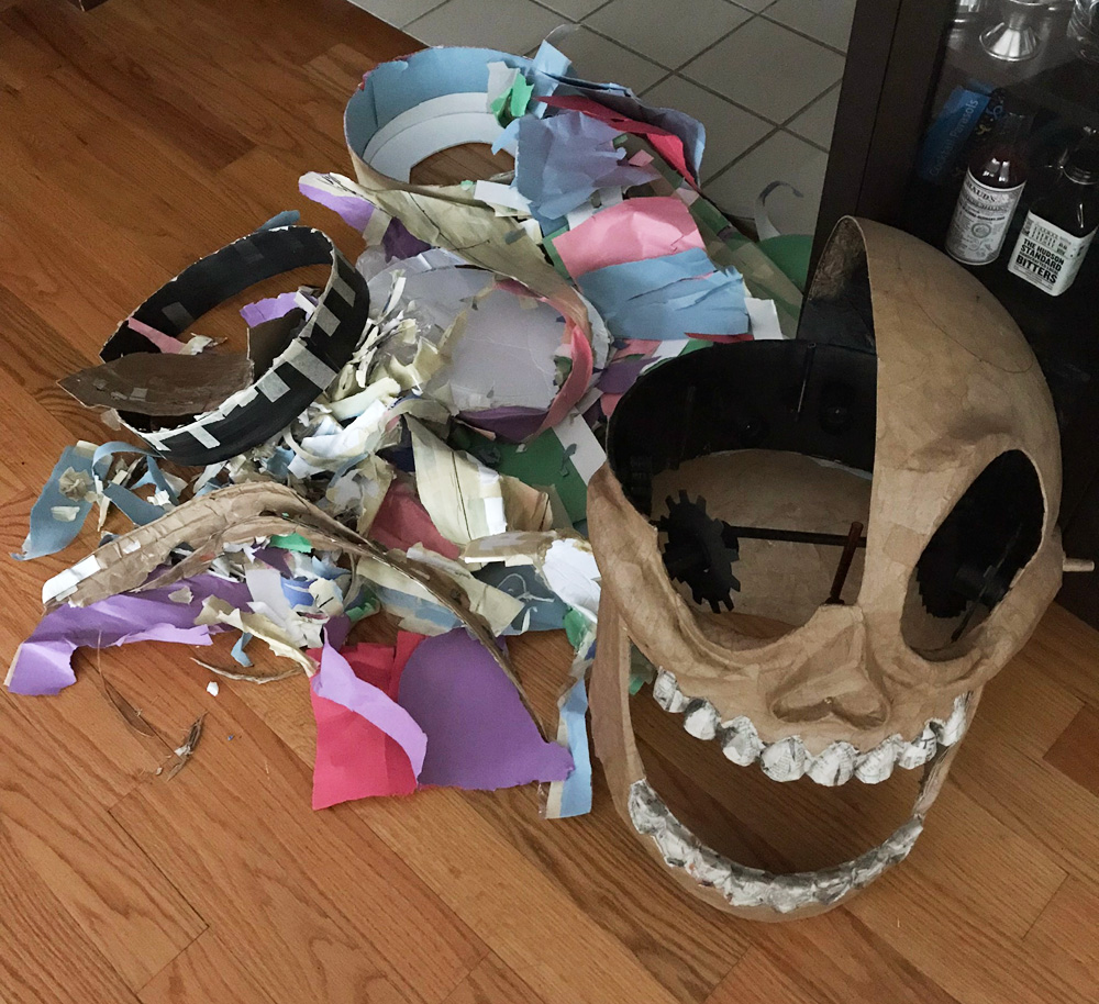 Clockwork skull mask - removing the interior junk