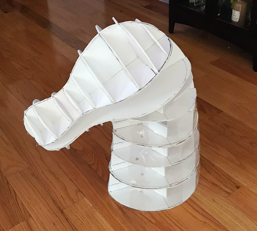 Horse skull mask - building the base with foam board