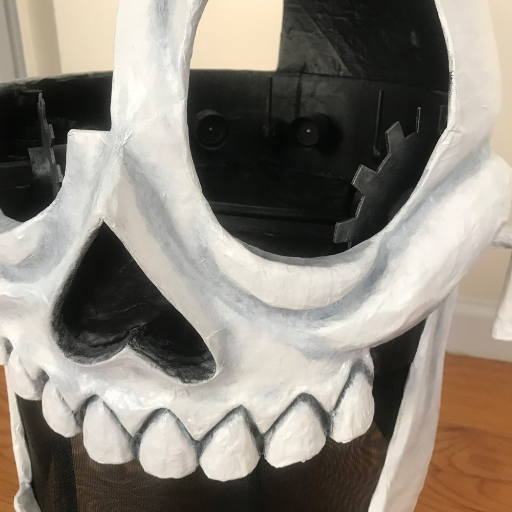 Animated skull mask - close up of paint job