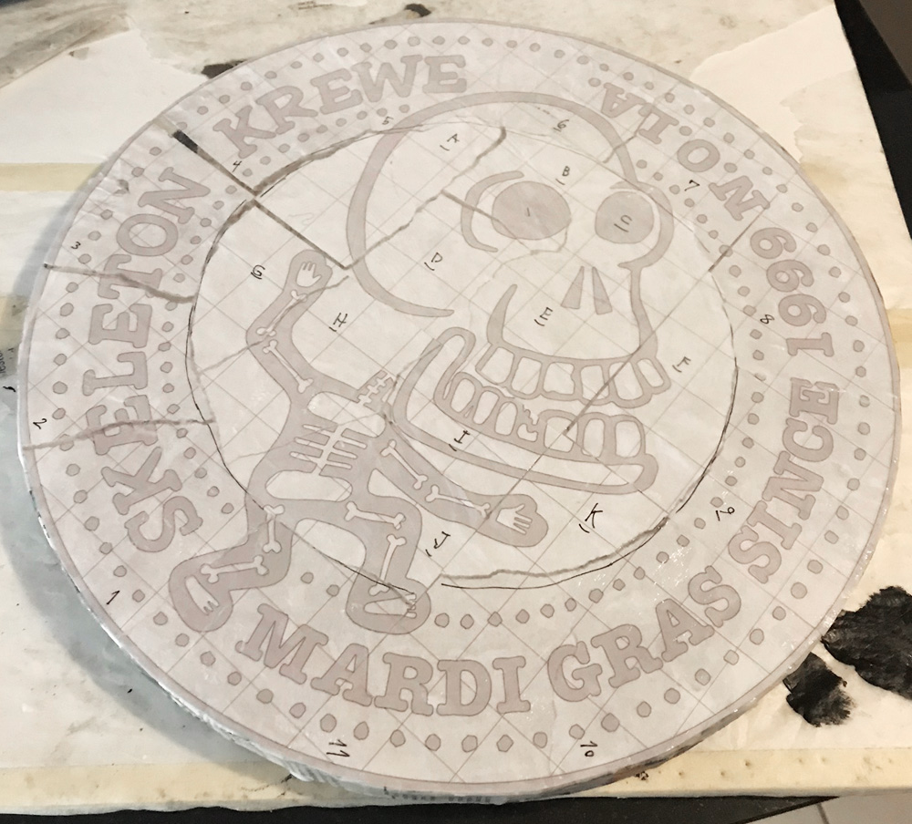 giant Skeleton Krewe doubloon - pasting the guide