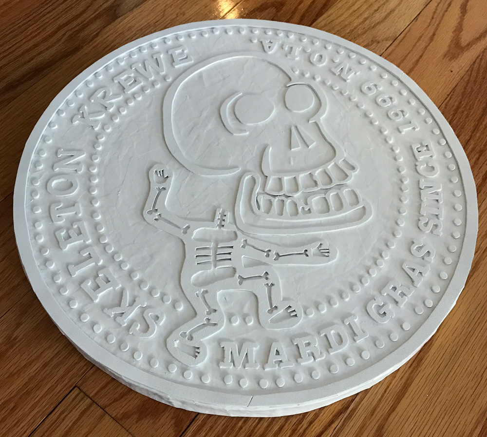 giant Skeleton Krewe doubloon - two coats of spray gesso