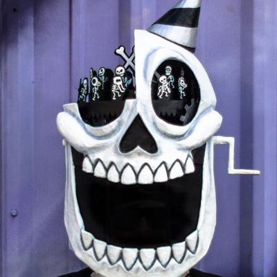 Paper mache skull mask by Manning Krull