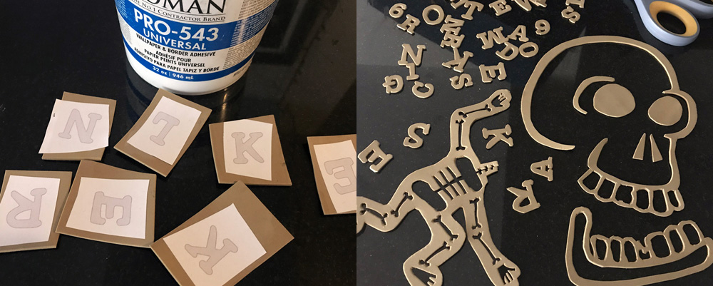working with craft foam - letters and bones