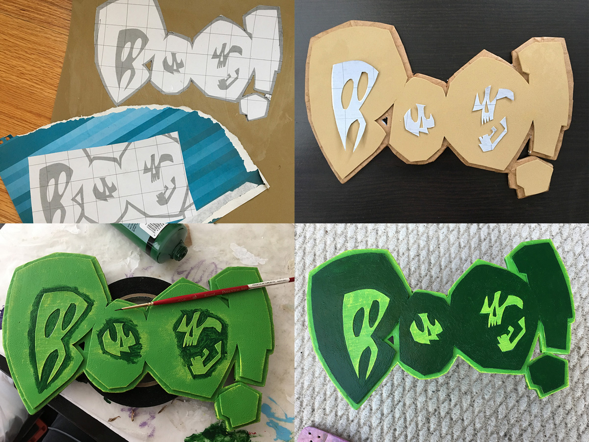 working with craft foam - BOO! logo