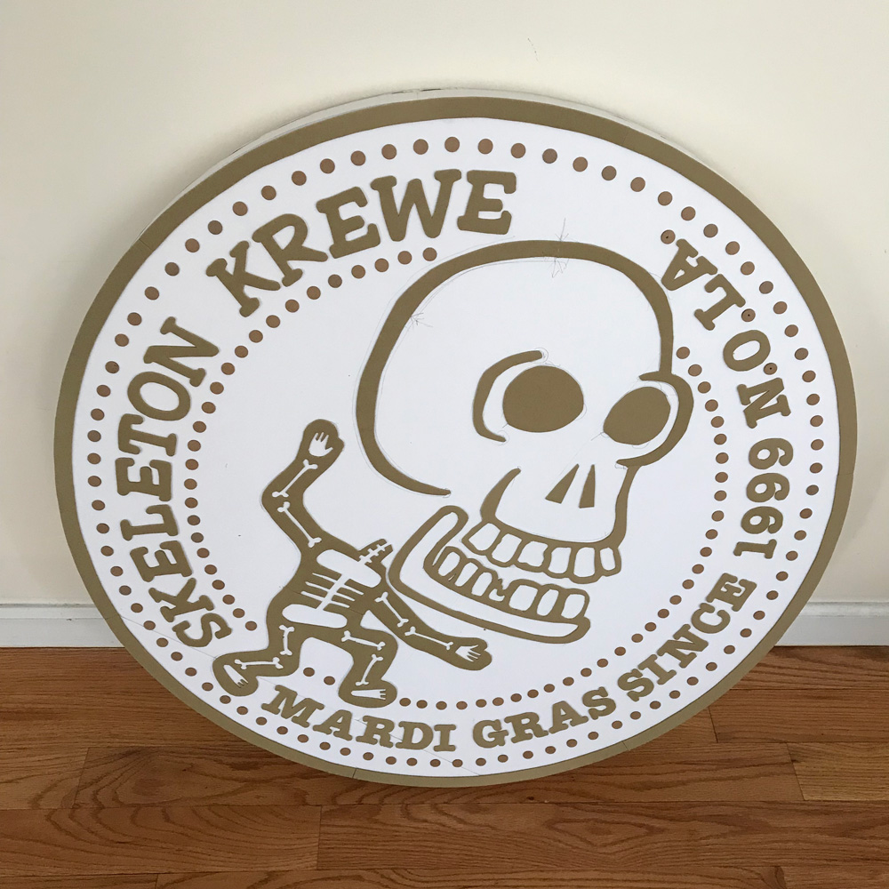 Giant 33-inch Skeleton Krewe doubloon - before painting