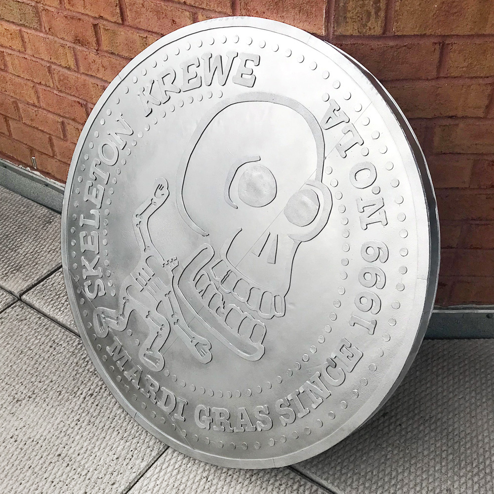Giant 33-inch Skeleton Krewe doubloon - with shiny silver paint job