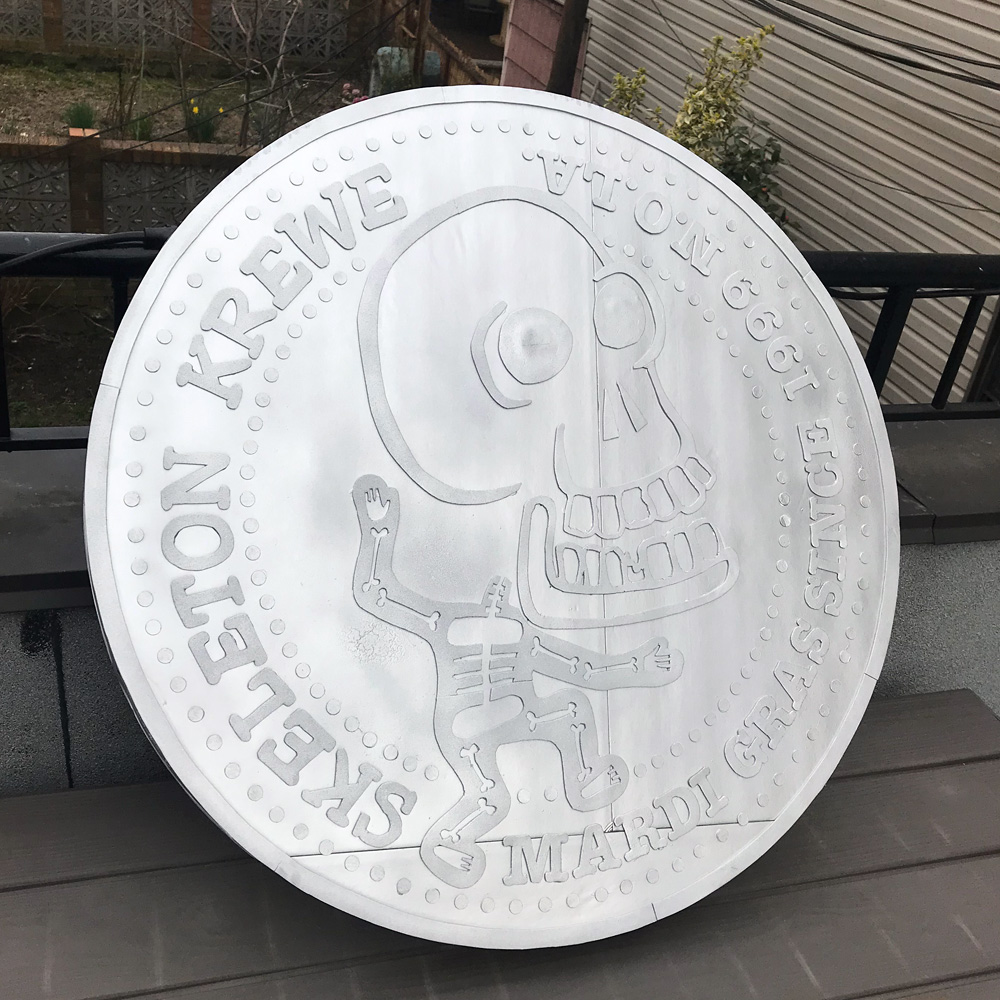 Giant 33-inch Skeleton Krewe doubloon - finished!