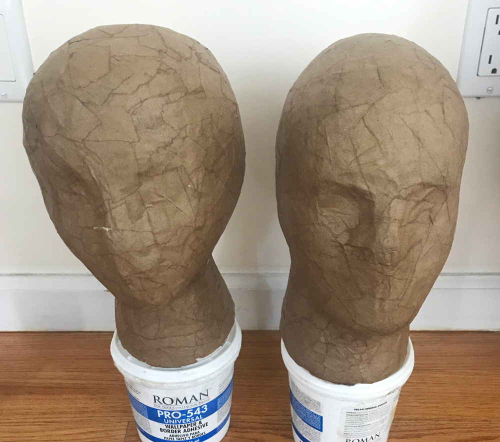 severed heads props -- paper mache