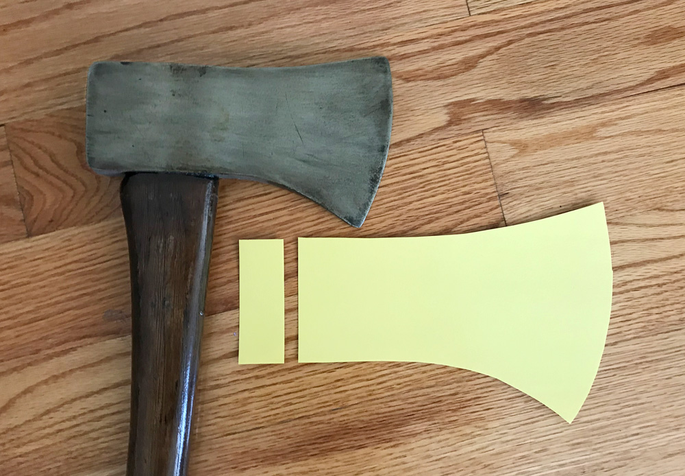 Paper mache axe - tracing the blade