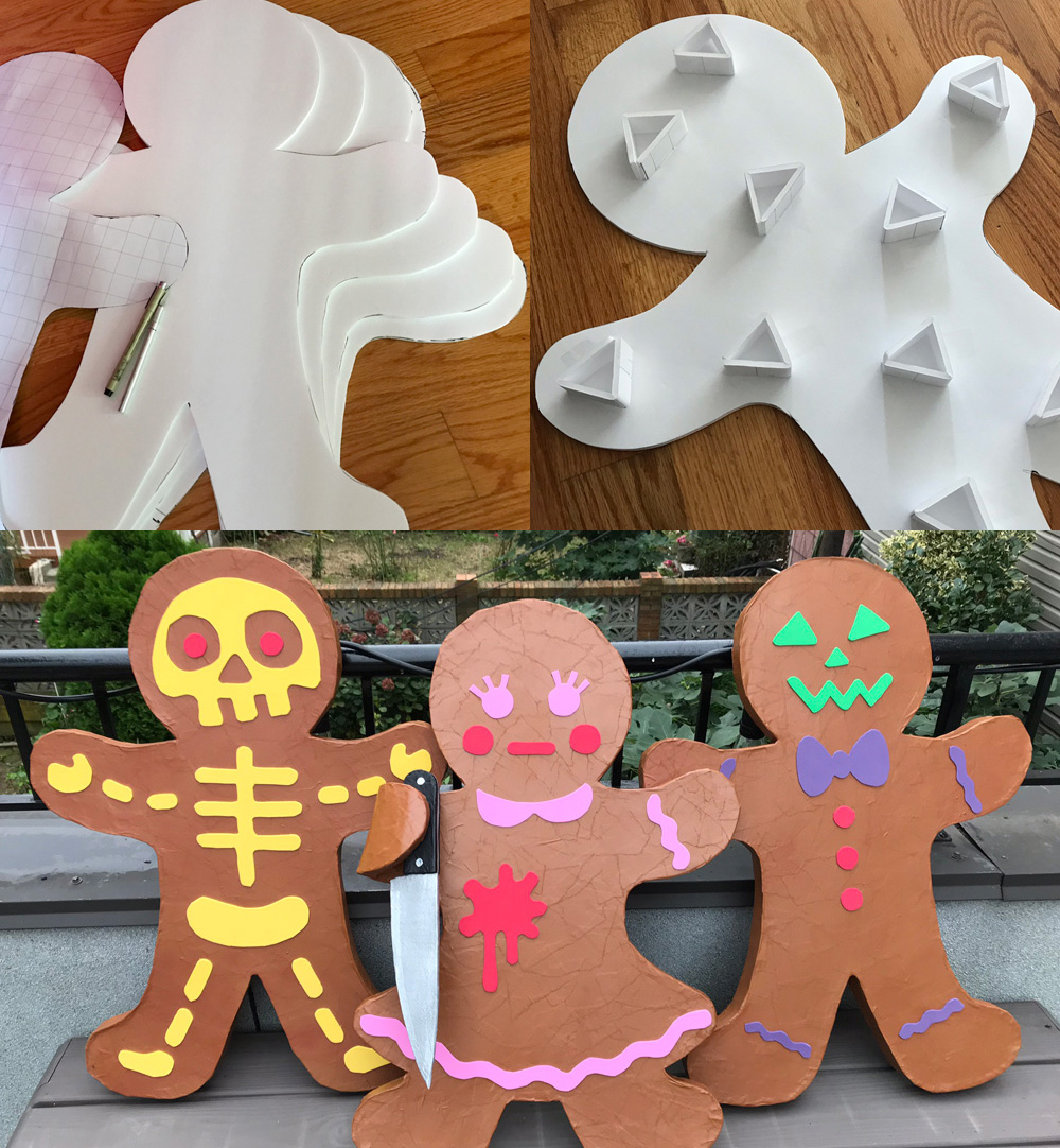 Paper maché gingerbread people