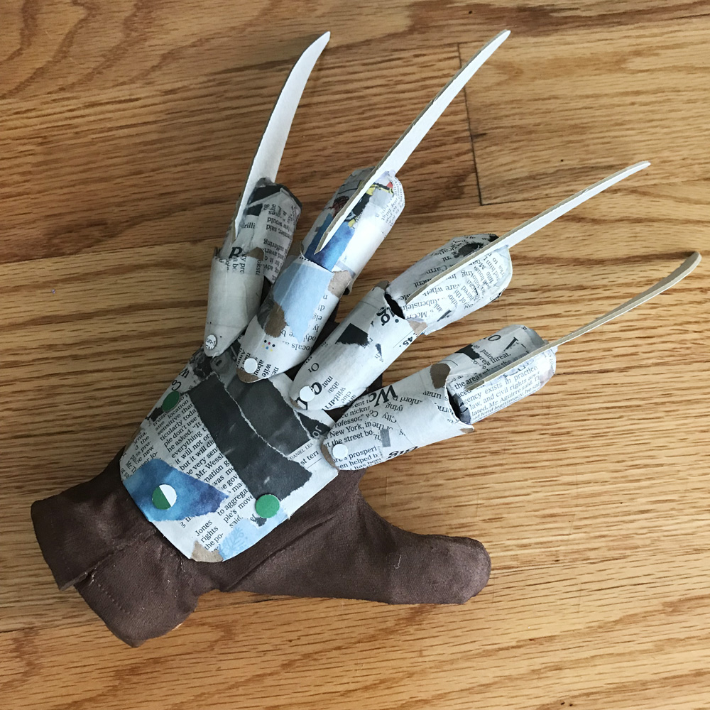 Paper mache Freddy Krueger hand prop - assembling everything