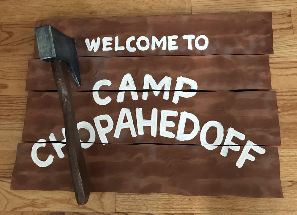 Fake wooden sign - hatchet prop!