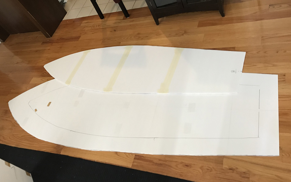 foam board rowboat prop - cutting out foam panels