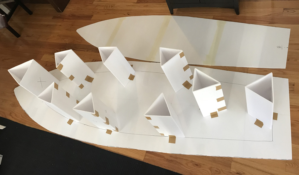 foam board rowboat prop - adding temporary supports