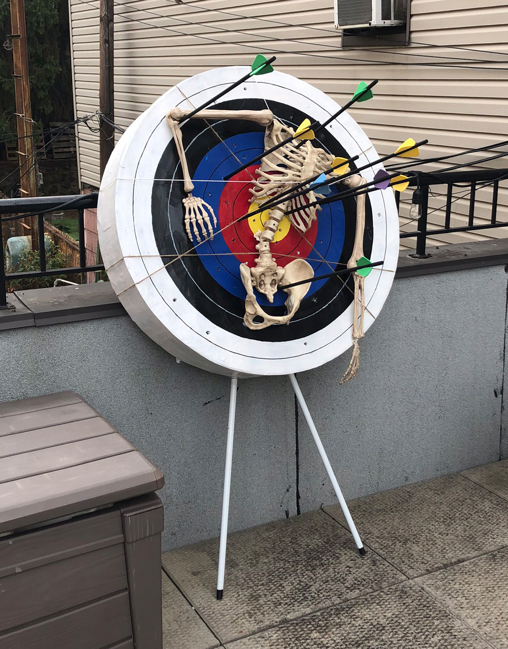 Paper mache archery target with skeleton decoration - finished!