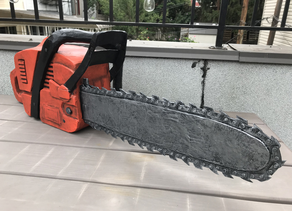 Paper mache chainsaw prop - painting done!