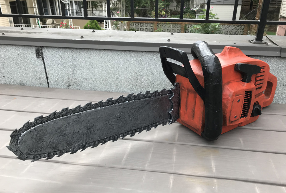 Paper mache chainsaw prop - finished!