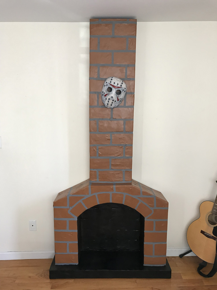 Paper mache fireplace prop - finished!