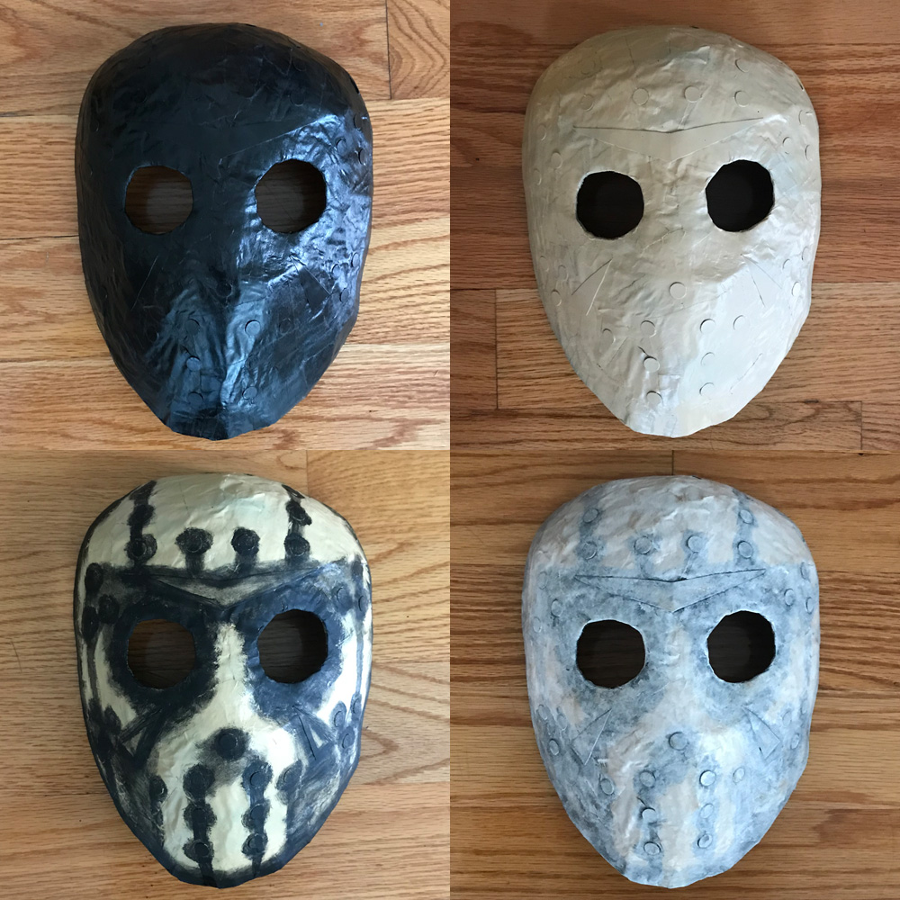 Paper mache Jason Voorhees mask - painting
