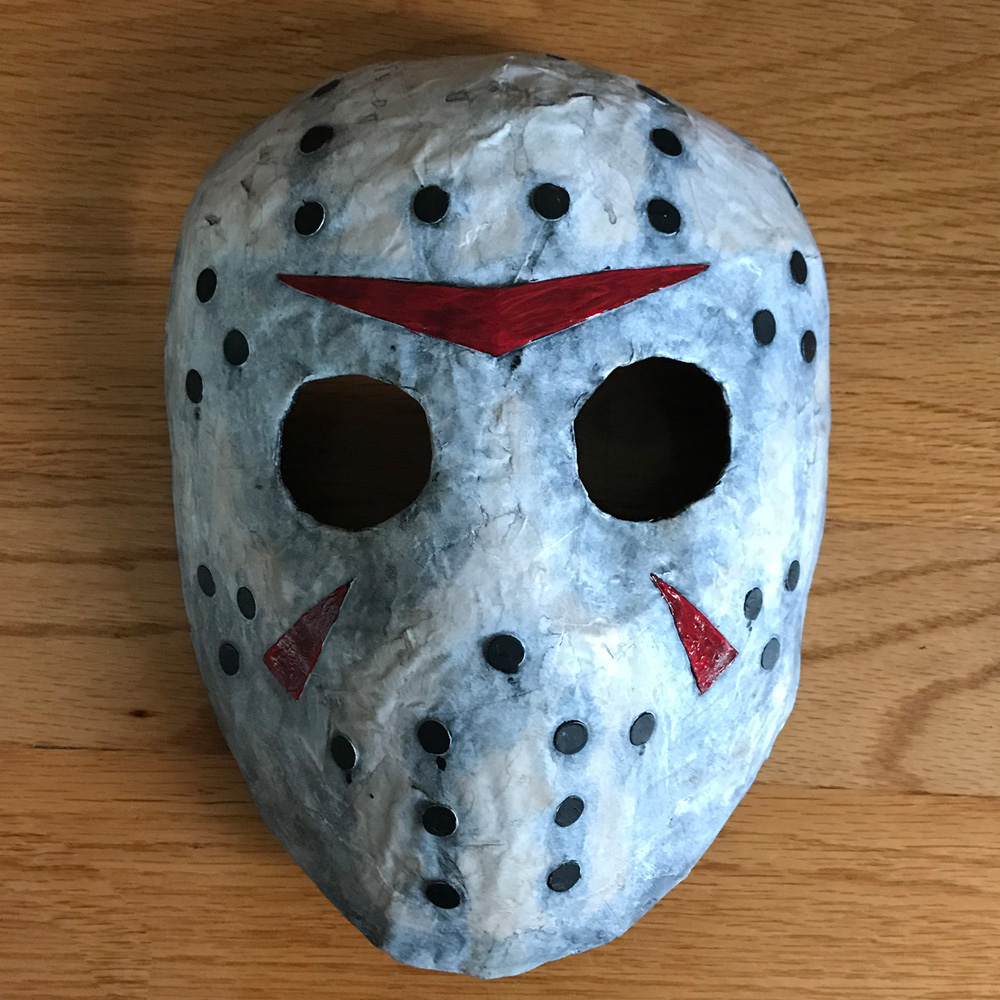 Paper mache Jason Voorhees mask - finished