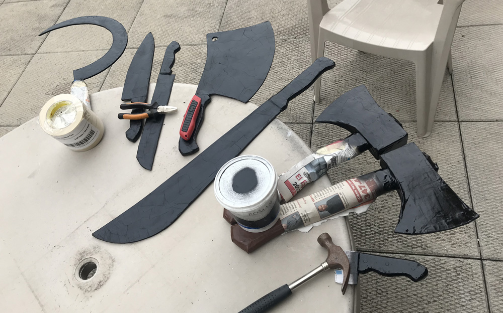 Paper mache meat cleaver, knives, etc - spray painting