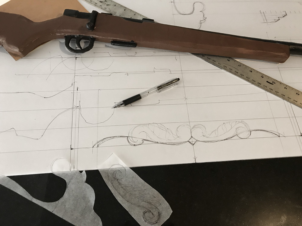 Paper mache rifle prop - designing the rack