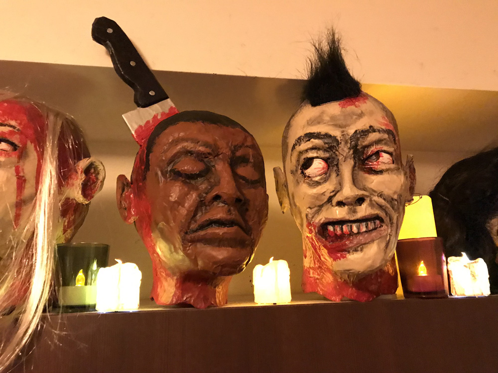 paper mache heads -- finished and on display!