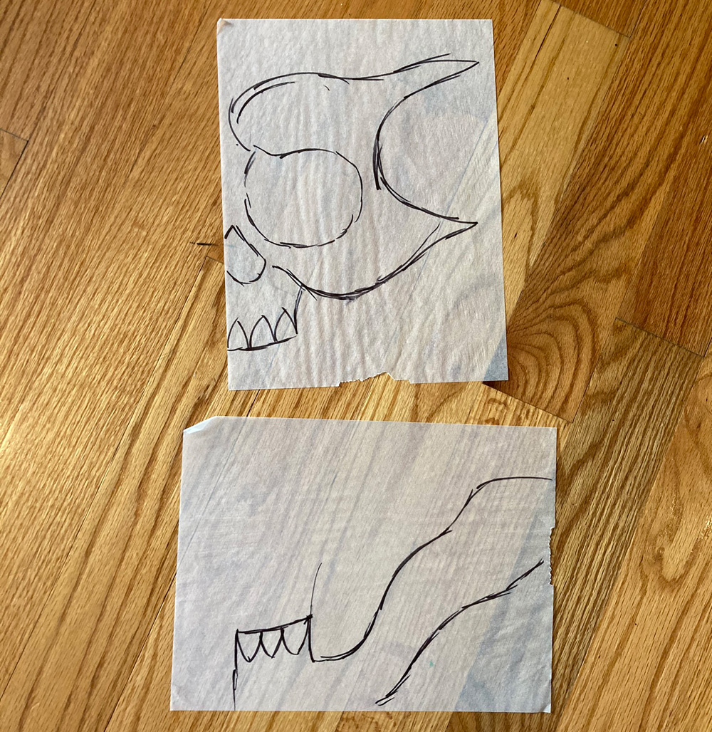 Manning Krull skull mask - tracing the face shapes