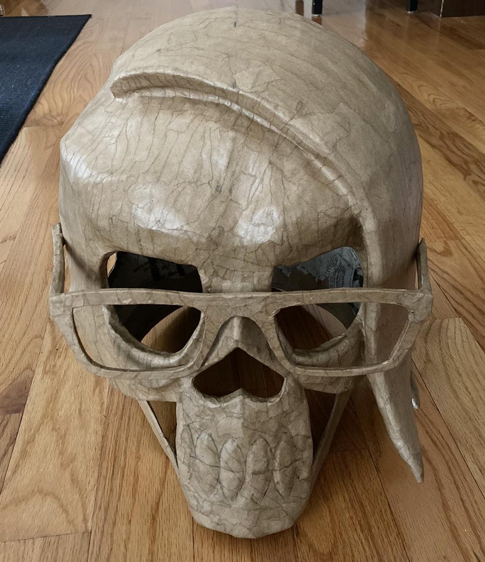 Manning Krull skull mask - paper mache on glasses