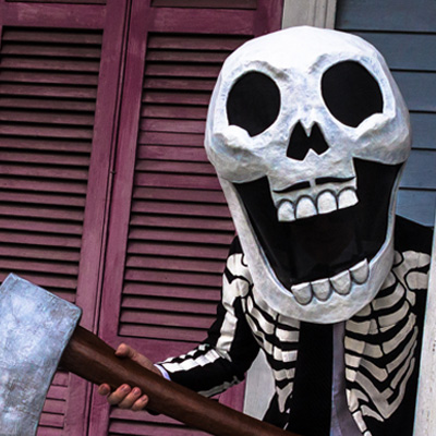 Paper mache Axe Man skull mask and axe by Manning Krull